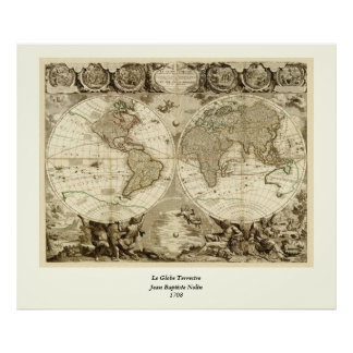 1708 World Map by Jean Baptiste Nolin Poster