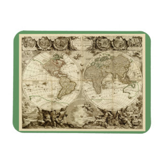 1708 World Map by Jean Baptiste Nolin Rectangular Photo Magnet