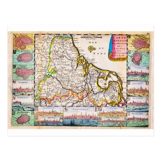 1710 De La Feuille Map of the Netherlands Belgium Postcard