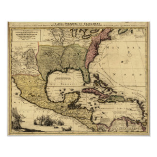1710 Map of Mexico, Caribbean and North America Poster