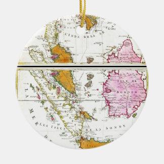 1710 Ottens Map of Southeast Asia Singapore Thai Ceramic Ornament