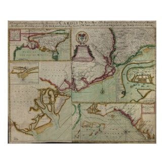 1711 Map of the Carolina Colonies Poster