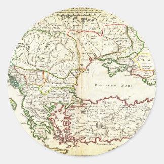 1715 De L'Isle Map of the Eastern Roman Empire und Classic Round Sticker