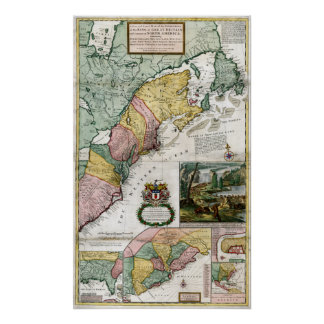 1715 Map of British Colonies in America Poster