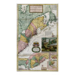 1715 Map of British Colonies in America Posters