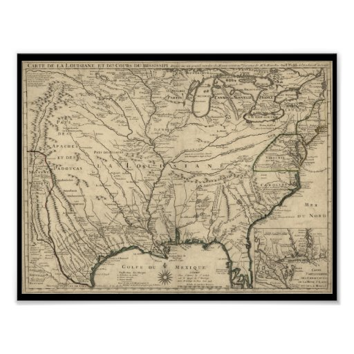 1718 Delisle Map of America Poster