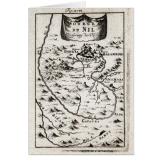 1719 Mallet Map of the Source of the Nile Ethiopi Card