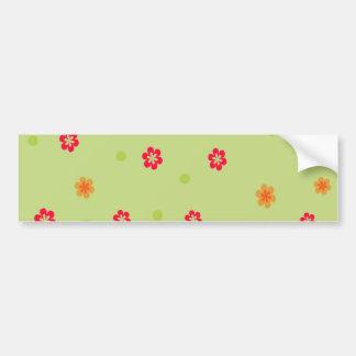 171__busan-beach-2-paper-1 RED ORANGE FLOWERS CART Bumper Sticker