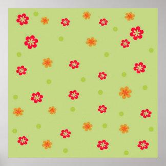 171__busan-beach-2-paper-1 RED ORANGE FLOWERS CART Posters