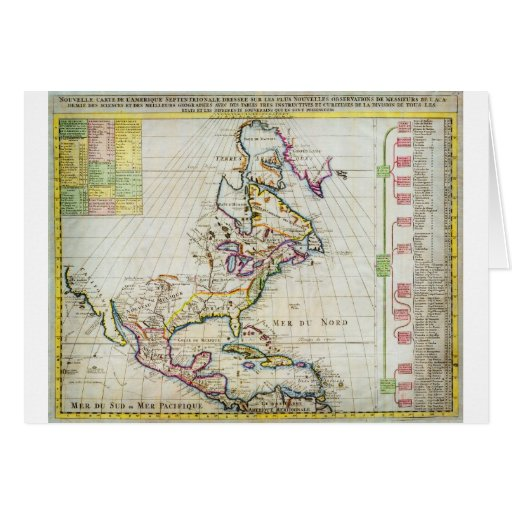 1720 Chatelain Map of North America Geographicus Greeting Card