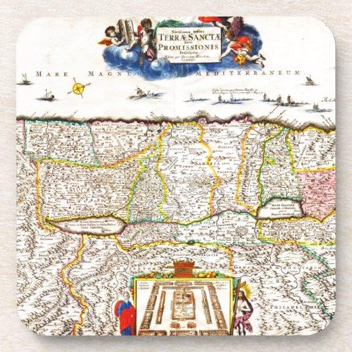 1720 Funck Map of Israel Palestine Holy Land Coaster
