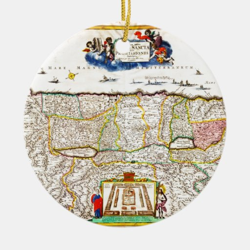 1720 Funck Map of Israel Palestine Holy Land Double-Sided Ceramic Round Christmas Ornament