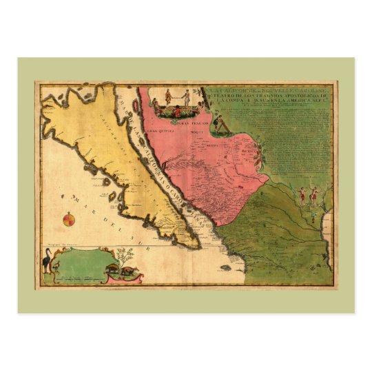 1720 Map - La Californie ou Nouvelle Caroline Postcard