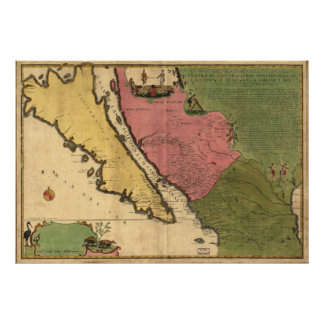 1720 Map of California as an island Poster