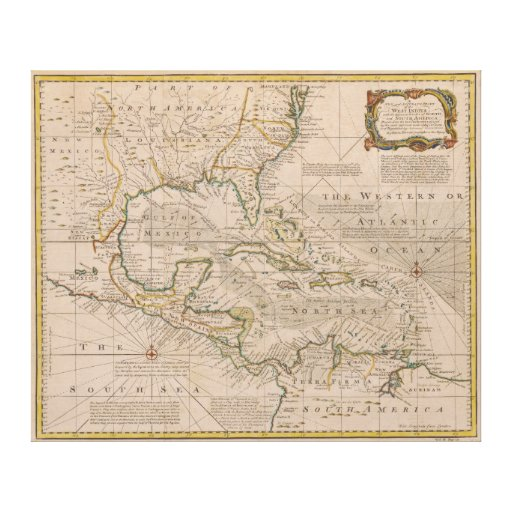 1720 Map of the West Indies by Emanuel Bowen Canvas Print