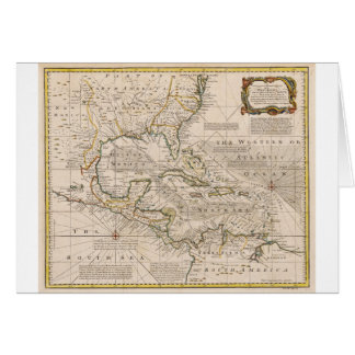 1720 Map of the West Indies by Emanuel Bowen Greeting Card