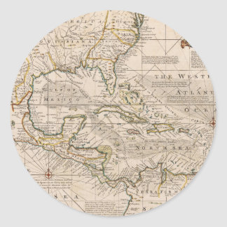 1720 Map of the West Indies by Emanuel Bowen Classic Round Sticker