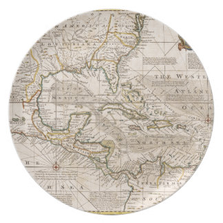 1720 Map of the West Indies by Emanuel Bowen Dinner Plate