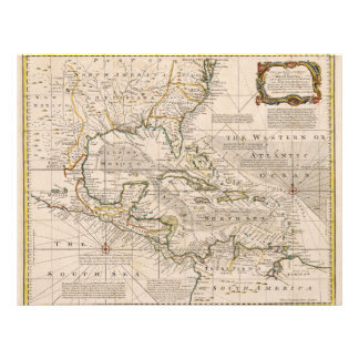 1720 Map of the West Indies by Emanuel Bowen Letterhead