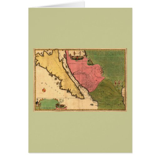 1720 mapa - nouvelle Caroline del ou de Californie Tarjeta De Felicitación