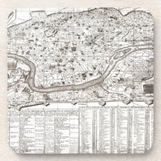 1721 Chatelain Plan or Map of Rome Italy Geogra Drink Coasters