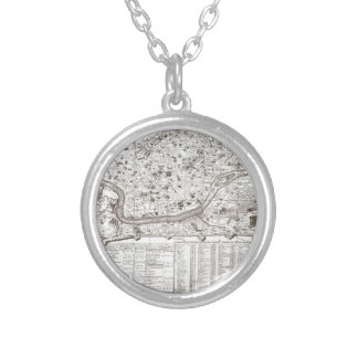 1721 Chatelain Plan or Map of Rome Italy Geogra Silver Plated Necklace