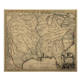 1721 Map Louisiana Territory & Mississippi River Poster