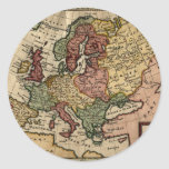 1721 Map of Europe Classic Round Sticker