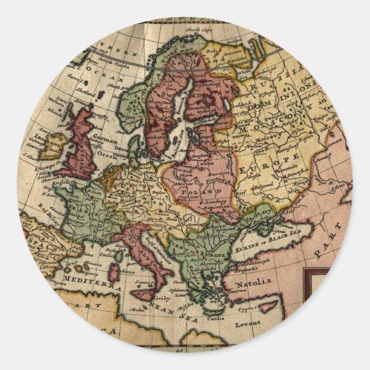1721 Map of Europe Classic Round Sticker