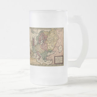 1721 Map of Europe 16 Oz Frosted Glass Beer Mug