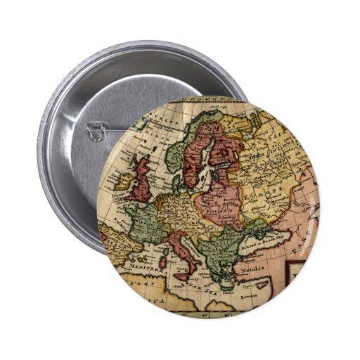 1721 Map of Europe Pinback Button