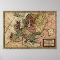 Europe 1721 map print