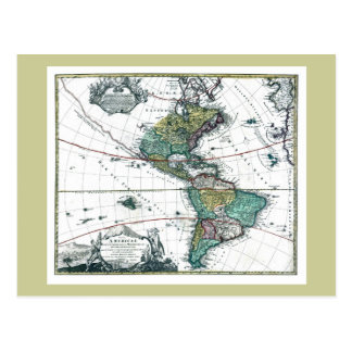 1725 South and North America Map Postcard