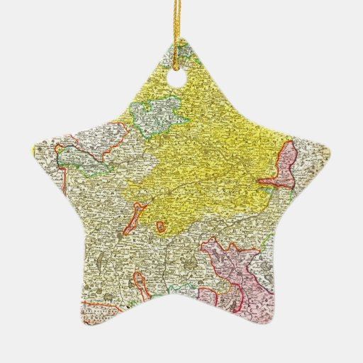 1728 Homann Map of Bavaria Germany Geographicus Double-Sided Star Ceramic Christmas Ornament