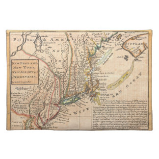 1729 Moll Map of New York Cloth Placemat