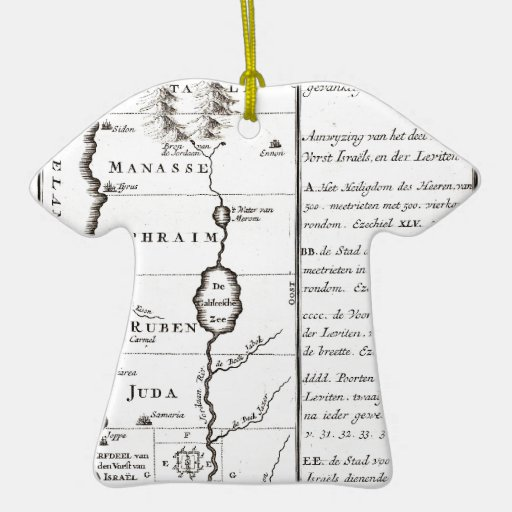 1729 Schryver Map of Israel showing 12 Tribes Ge Double-Sided T-Shirt Ceramic Christmas Ornament