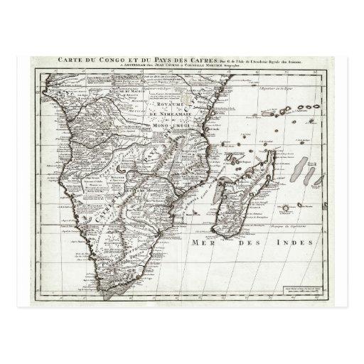 1730 Covens y mapa de Mortier de África meridional Postales
