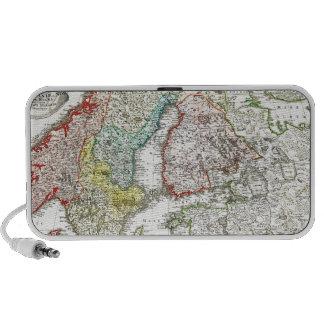 1730 Homann Map of Scandinavia Norway Sweden De Laptop Speakers