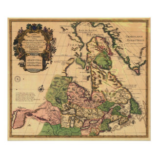 1730 Map of Canada Poster