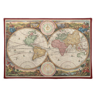 1730 Stoopendaal World Map Placemat