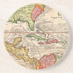1732 Herman Moll Map of the West Indies and Caribb Drink Coaster
