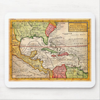 1732 Herman Moll Map of the West Indies and Caribb Mouse Pad