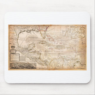 1732 Herman Moll Map of the West Indies Florida Mouse Pad