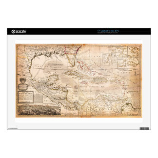 1732 Herman Moll Map of the West Indies Florida Laptop Decals