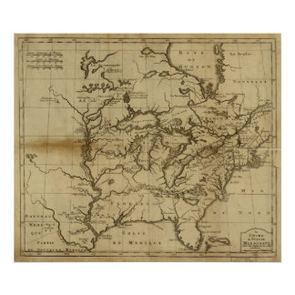 1737 Map Mississippi River Valley and Eastern U.S. Poster