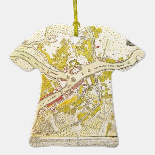 1737 map of Saint Petersburg Ceramic Ornament