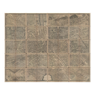 1739 Turgot View and Map of Paris France Bretez Posters