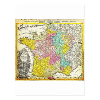 1741 Homann Heirs Map of France Geographicus F Postcard