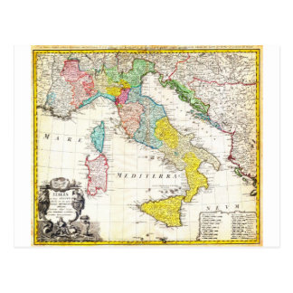 1742 Homann Heirs Map of Italy Geographicus Postcard
