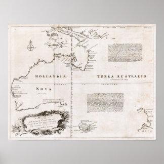 1744 Australia Map Poster